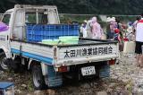 太田川漁協のトラックで鮎を運びました